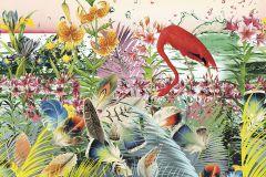6031A-VD2 cikkszámú tapéta.állatok,különleges felületű,különleges motívumos,természeti mintás,virágmintás,fehér,fekete,kék,lila,narancs-terrakotta,pink-rózsaszín,sárga,szürke,vlies poszter, fotótapéta