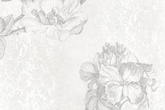 6032A-VD2 cikkszámú tapéta.Különleges felületű,különleges motívumos,rajzolt,természeti mintás,virágmintás,ezüst,fehér,szürke,vlies poszter, fotótapéta