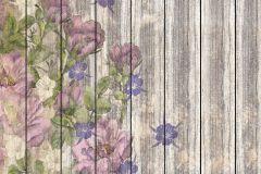 6038A-VD4 cikkszámú tapéta.Fa hatású-fa mintás,természeti mintás,virágmintás,barna,kék,lila,pink-rózsaszín,szürke,vlies poszter, fotótapéta