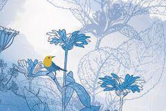 6041A-VD1 cikkszámú tapéta.állatok,különleges motívumos,virágmintás,fehér,kék,sárga,szürke,vlies poszter, fotótapéta