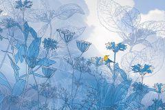 6041A-VD2 cikkszámú tapéta.állatok,különleges motívumos,természeti mintás,virágmintás,fehér,kék,sárga,szürke,vlies poszter, fotótapéta