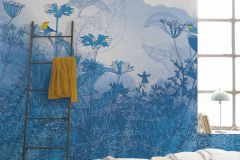6041A-VD4 cikkszámú tapéta.állatok,különleges motívumos,természeti mintás,virágmintás,fehér,kék,sárga,szürke,vlies poszter, fotótapéta