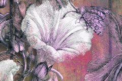 6045A-VD1 cikkszámú tapéta.Absztrakt,különleges motívumos,természeti mintás,virágmintás,barna,ezüst,fehér,lila,pink-rózsaszín,szürke,zöld,vlies poszter, fotótapéta