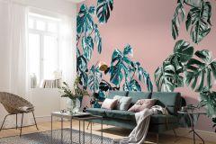 P016-VD4 cikkszámú tapéta.Természeti mintás,pink-rózsaszín,zöld,vlies poszter, fotótapéta