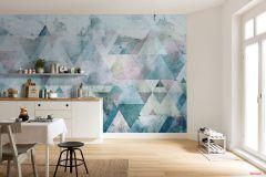 P018A-VD4 cikkszámú tapéta.Absztrakt,geometriai mintás,kék,narancs-terrakotta,sárga,szürke,zöld,vlies poszter, fotótapéta