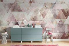 P018B-VD4 cikkszámú tapéta.Absztrakt,geometriai mintás,pink-rózsaszín,sárga,szürke,türkiz,vlies poszter, fotótapéta