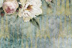 P020-VD2 cikkszámú tapéta.Absztrakt,virágmintás,arany,bézs-drapp,pink-rózsaszín,türkiz,vlies poszter, fotótapéta