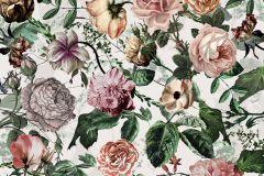 P021-VD2 cikkszámú tapéta.Virágmintás,bézs-drapp,narancs-terrakotta,pink-rózsaszín,szürke,zöld,vlies poszter, fotótapéta