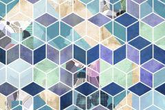 P024-VD2 cikkszámú tapéta.Bézs-drapp,fehér,kék,lila,sárga,türkiz,vlies poszter, fotótapéta