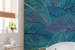 P026-VD2 cikkszámú tapéta.Természeti mintás,narancs-terrakotta,türkiz,zöld,vlies poszter, fotótapéta