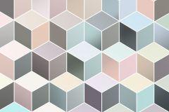 P027-VD2 cikkszámú tapéta.3d hatású,geometriai mintás,bézs-drapp,fehér,kék,pink-rózsaszín,vlies poszter, fotótapéta