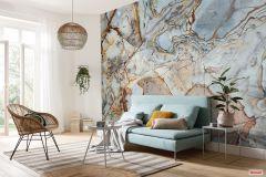 P032-VD4 cikkszámú tapéta.Különleges motívumos,barna,kék,narancs-terrakotta,vlies poszter, fotótapéta