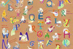 P036-VD2 cikkszámú tapéta.Feliratos-számos,gyerek,barna,bézs-drapp,fehér,kék,lila,narancs-terrakotta,pink-rózsaszín,sárga,szürke,zöld,vlies poszter, fotótapéta