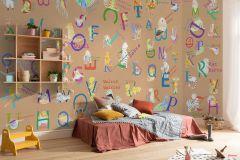 P036-VD5 cikkszámú tapéta.Feliratos-számos,gyerek,barna,bézs-drapp,kék,lila,narancs-terrakotta,piros-bordó,sárga,zöld,vlies poszter, fotótapéta