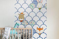 P037A-VD1 cikkszámú tapéta.állatok,geometriai mintás,gyerek,bézs-drapp,fehér,kék,narancs-terrakotta,zöld,vlies poszter, fotótapéta
