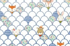 P037A-VD2 cikkszámú tapéta.állatok,geometriai mintás,gyerek,bézs-drapp,fehér,kék,lila,narancs-terrakotta,pink-rózsaszín,szürke,vlies poszter, fotótapéta