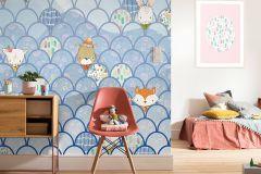 P037B-VD2 cikkszámú tapéta.állatok,geometriai mintás,gyerek,bézs-drapp,fehér,kék,lila,narancs-terrakotta,pink-rózsaszín,piros-bordó,szürke,zöld,vlies poszter, fotótapéta