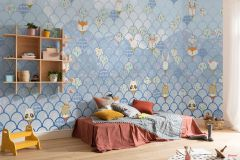 P037B-VD5 cikkszámú tapéta.állatok,geometriai mintás,gyerek,bézs-drapp,fehér,kék,lila,narancs-terrakotta,pink-rózsaszín,szürke,vlies poszter, fotótapéta