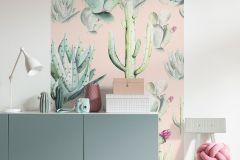 P045A-VD1 cikkszámú tapéta.Bézs-drapp,pink-rózsaszín,szürke,zöld,vlies poszter, fotótapéta