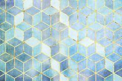 P092B-VD2 cikkszámú tapéta.Geometriai mintás,arany,kék,türkiz,zöld,vlies poszter, fotótapéta