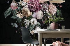 P415-VD2 cikkszámú tapéta.Virágmintás,bézs-drapp,fekete,lila,pink-rózsaszín,zöld,vlies poszter, fotótapéta