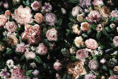 P6035A-VD4 cikkszámú tapéta.Virágmintás,bézs-drapp,fekete,lila,pink-rózsaszín,zöld,vlies poszter, fotótapéta