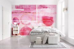 PRH-0158 cikkszámú tapéta.Absztrakt,geometriai mintás,fehér,narancs-terrakotta,pink-rózsaszín,vlies poszter, fotótapéta