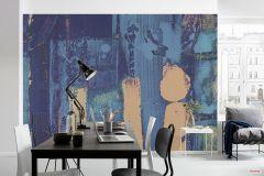 PRH-0409 cikkszámú tapéta.Absztrakt,kék,narancs-terrakotta,vlies poszter, fotótapéta