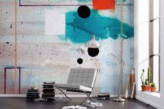PRH-0564 cikkszámú tapéta.Absztrakt,bézs-drapp,fehér,kék,narancs-terrakotta,pink-rózsaszín,piros-bordó,vlies poszter, fotótapéta
