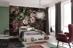 8-980 cikkszámú tapéta.Természeti mintás,virágmintás,barna,bronz,lila,pink-rózsaszín,piros-bordó,zöld,papír poszter, fotótapéta