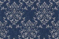 46504 cikkszámú tapéta.Barokk-klasszikus,különleges felületű,ezüst,kék,súrolható,vlies tapéta