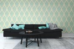 46903 cikkszámú tapéta.Különleges felületű,textil hatású,barokk-klasszikus,bézs-drapp,türkiz,súrolható,vlies tapéta