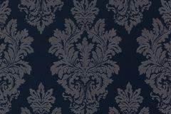 46904 cikkszámú tapéta.Barokk-klasszikus,különleges felületű,textil hatású,kék,szürke,súrolható,vlies tapéta