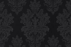 46908 cikkszámú tapéta.Barokk-klasszikus,különleges felületű,textil hatású,fekete,súrolható,vlies tapéta
