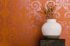 63318 cikkszámú tapéta.Barokk-klasszikus,különleges felületű,különleges motívumos,retro,lila,narancs-terrakotta,lemosható,illesztés mentes,vlies tapéta
