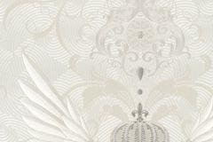 54457 cikkszámú tapéta.Különleges felületű,különleges motívumos,metál-fényes,ezüst,fehér,vajszín,lemosható,vlies tapéta