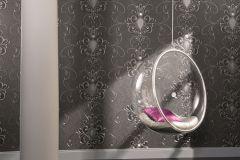 54853 cikkszámú tapéta.Barokk-klasszikus,különleges felületű,különleges motívumos,metál-fényes,ezüst,szürke,lemosható,vlies tapéta