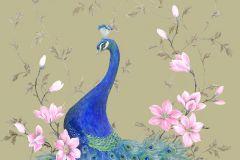 58503 cikkszámú tapéta.állatok,különleges felületű,különleges motívumos,természeti mintás,virágmintás,bézs-drapp,kék,pink-rózsaszín,zöld,lemosható,vlies panel, fotótapéta