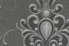 58560 cikkszámú tapéta.Barokk-klasszikus,különleges felületű,különleges motívumos,metál-fényes,ezüst,fekete,szürke,lemosható,vlies panel, fotótapéta
