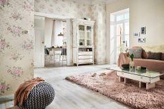 30614 cikkszámú tapéta.Barokk-klasszikus,különleges felületű,metál-fényes,virágmintás,bézs-drapp,pink-rózsaszín,zöld,súrolható,vlies tapéta