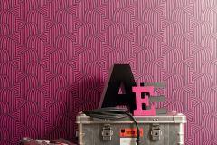 57258 cikkszámú tapéta.3d hatású,csíkos,különleges motívumos,retro,fekete,pink-rózsaszín,lemosható,vlies tapéta