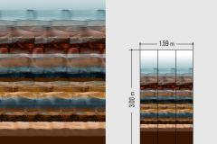 46532 cikkszámú tapéta.Absztrakt,különleges felületű,barna,kék,sárga,türkiz,lemosható,vlies tapéta