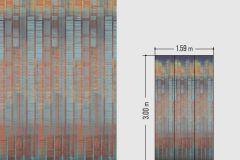 46536 cikkszámú tapéta.Absztrakt,különleges felületű,kék,narancs-terrakotta,piros-bordó,sárga,lemosható,vlies tapéta