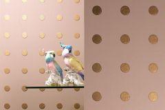 55507 cikkszámú tapéta.Geometriai mintás,pöttyös,arany,bézs-drapp,lemosható,vlies tapéta