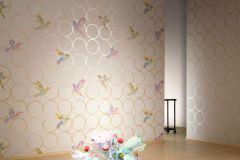 55504 cikkszámú tapéta.Geometriai mintás,bézs-drapp,fehér,pink-rózsaszín,zöld,lemosható,vlies tapéta