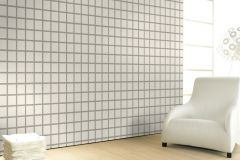59738 cikkszámú tapéta.Geometriai mintás,különleges felületű,különleges motívumos,retro,fehér,szürke,lemosható,vlies tapéta