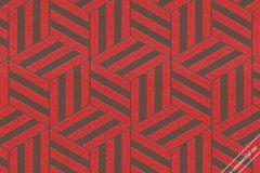59741 cikkszámú tapéta.3d hatású,absztrakt,geometriai mintás,különleges felületű,különleges motívumos,retro,barna,piros-bordó,szürke,lemosható,vlies tapéta