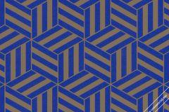 59743 cikkszámú tapéta.3d hatású,absztrakt,geometriai mintás,különleges felületű,különleges motívumos,retro,barna,kék,lemosható,vlies tapéta
