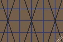 59769 cikkszámú tapéta.Absztrakt,geometriai mintás,különleges felületű,különleges motívumos,retro,barna,fekete,kék,lemosható,vlies tapéta