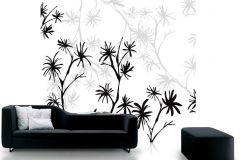 DM201-3 cikkszámú tapéta.Virágmintás,retro,természeti mintás,fa hatású-fa mintás,rajzolt,fehér,szürke,fekete,gyengén mosható,vlies poszter, fotótapéta